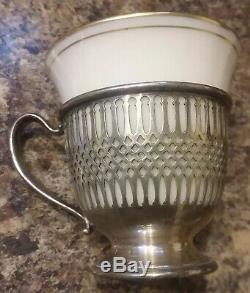 8 Lenox Demitasse Sterling Silver Cups with porcelain liners no saucers