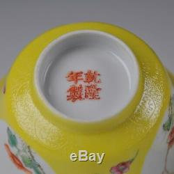 A Pair Of Yellow Chinese Porcelain Famille Rose Covered Cup & Saucers Ca 1920