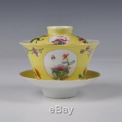 A Yellow Glazed Chinese Porcelain Famille Rose Covered Cup & Saucer Ca 1920