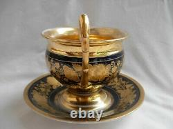 ANTIQUE FRENCH PORCELAIN CHOCOLAT CUP AND SAUCER, EMPIRE STYLE, 19th CENTURY