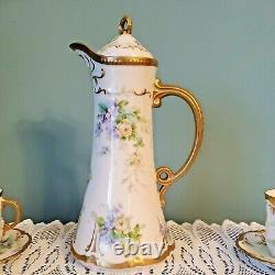 ANTIQUE LIMOGES CORONET CHOCOLATE/COFFEE/TEA SET Porcelain Pot with4 Cups Saucers