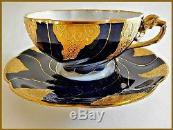 ANTIQUE LIMOGES/TIFFANY PORCELAIN CUP/SAUCER COBALT FLOW BLUE/GOLDc 1880