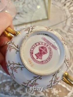 ANTIQUE MINTON PORCELAIN ENAMELED CUP & SAUCER Turquoise Blue Gold Encrusted