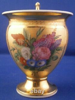 Amazing Antique 19thC Paris French Porcelain Cup & Saucer Porcelaine Tasse Vieux