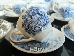 Ancienne Service A Cafe Plat Bol Porcelaine Torsade Bleu Anglaise Signée