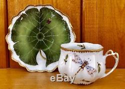 Anna Weatherley Cup & Saucer Green Leaf Dragonfly Bees Gold Rim