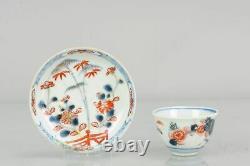 Antique 18C Chinese Porcelain Tea Bowl Cup Saucer Tea Drinking Imari Gar