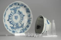 Antique 18C Kangxi Chinese Porcelain Tin Potted Tea Cup Saucer China Chinese