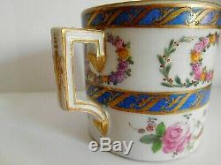 Antique 18th C Nyon Porcelain Floral Coffee Can And Saucer In The Sevres Style