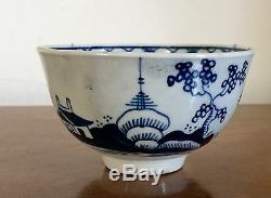 Antique 18th c English Porcelain Tea Cup Blue & White Chinese Worcester Caughley