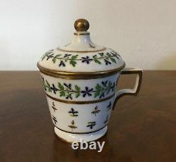 Antique 18th c. French Paris Porcelain Sprig Cornflower Pot de Creme Cup 1 Nast