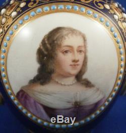 Antique 18thC Sevres Jewelled Porcelain Portrait Teapot Porzellan Kanne Tea Pot