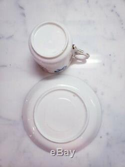 Antique 19thC English Porcelain Butterfly Turquoise Bow Cup & Saucer