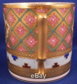 Antique 19thC Korniloff Porcelain Geometric Design Cup & Saucer Kornilov Russian