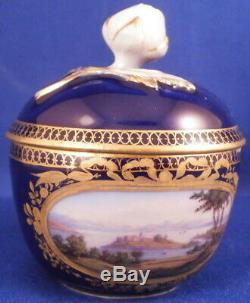 Antique 19thC Meissen Porcelain Cobalt & Scenic Lidded Cup & Saucer Porzellan