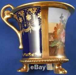 Antique 19thC Paris French Footed Porcelain Cup & Saucer Porcelaine Tasse Vieux