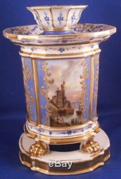 Antique 19thC Paris Porcelain Scenic Bough Bulb Flower Pot Porzellan Blumentopf