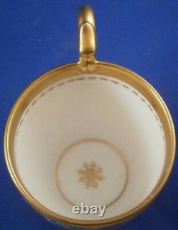 Antique 19thC Schlaggenwald Porcelain Floral Cup & Saucer Porzellan Tasse German