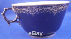Antique 19thC Sevres Cobalt Blue & Gold Porcelain Cup & Saucer Porzellan Tasse