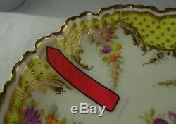 Antique Ambrosius Lamm Dresden Porcelain Demitasse Cup & Saucer Gold and Yellow