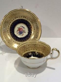 Antique Aynsley Bone China Porcelain Cobalt Blue/GoldTea Cup & Saucer, marked