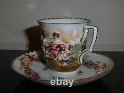 Antique Capodimonte Italian Porcelain Putti Cherubs Relief Cup And Saucer