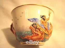 Antique Capodimonte Porcelain Cup & Saucer Naples Mark N WithCrown EUC Neptune
