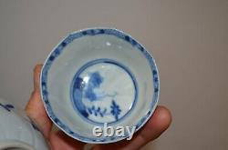 Antique Chinese Blue & White Porcelain Tea Saucer Plate & Cup Ming Dynasty