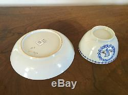Antique Chinese Export Porcelain Tea Cup Bowl & Saucer Love Birds 19th century