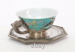 Antique Chinese Porcelain & Silver Cup & Saucer with Butterflies