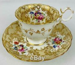 Antique Coalport cup & sauceradelaide shape c1833 Gold GiltEnglish Porcelain