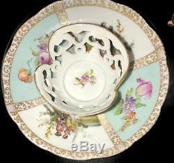 Antique Demitasse Dresden Porcelain Trembleuse Cup & Saucer Set See Photos