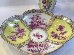 Antique Dresden Cup & Saucer Helena Wolfsohn Augustus Rex Yellow & Puce Putti