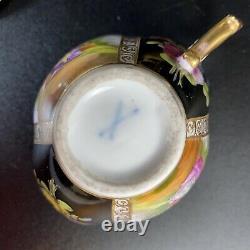 Antique Dresden Porcelain Black/Gold Quatrefoil Demitasse Cup/Saucer
