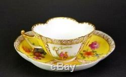 Antique Dresden Quatrefoil Porcelain Yellow Cup Saucer Hand Painted Lovers