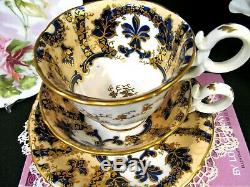 Antique English Porcelain COALPORT 1835 tea cup and saucer trio teacup cobalt