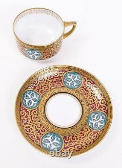 Antique Fine Kuznetsov Russian Porcelain Gilt Cup and Saucer