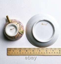 Antique French Directoire / Empire Housel Porcelain Pastel Cup & Saucer, c. 1800