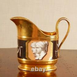 Antique French Empire porcelain gilded 19th c Sevres style creamer handpainted