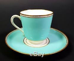 Antique French HAND PAINTED JEWELED Choisy-Le-Roi PORCELAIN Cup and Saucer