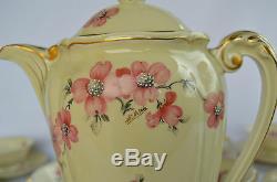 Antique French Limoges Porcelain Coffee Set Pot 10 Cup & Saucer Floral Artois