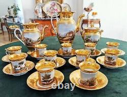 Antique French Old Paris Porcelain Hand-painted 25-pieces Tea/ coffee Set 1860s
