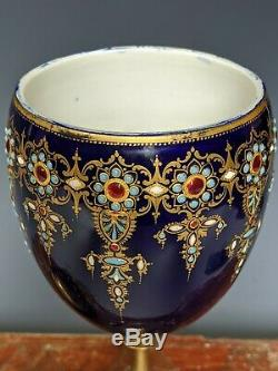 Antique French Porcelain Sevres Style Goblet Dore Bronze Stem Gilt Enamel 19th c