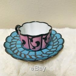 Antique French Porcelain Teacup Silver Overlay Demitasse Argent Fin Signed