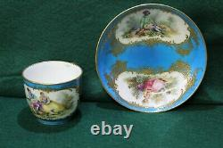 Antique French Serves Hand Painted Cup & Saucer/Bowl, Circa 1784