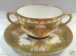 Antique French Sevres Limoges Hand Painted Porcelain Cup & Saucer