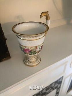 Antique French Sevres M Imp Le De Porcelain Rare Zoomorphic Eagle Head Gilt Cup