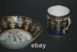 Antique French Sevres Painted Jeweled Porcelain Portrait Cabinet Cup & Saucer