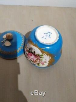 Antique French Sevres Porcelain Tea Set 19th C Cherub Painted Exceptional