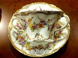 Antique German Meissen Dresden Hand Painted Porcelain 4 Tea Or Sup Cups & Saucer